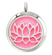 Open Lotus Flower, Diffuser Necklace Locket Stainless Still 10ml Oil 11 Pads