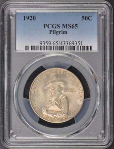 PILGRIM 1920 50C Silver Commemorative PCGS MS65