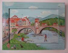 """Charlotte Julian - """"Le pont de Sospel"""" - Art Naïf - Acrylique - Tableau -"""