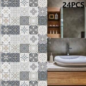 24X Kitchen Tile Stickers Bathroom Mosaic Sticker Self-adhesive Wall Home Decor、