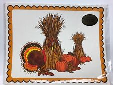 Vintage Hallmark 8 Placemats Thanksgiving Harvest Turkey Pumpkin
