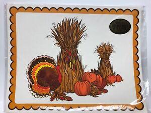 Vintage Hallmark 8 Placemats Thanksgiving Harvest Turkey Pumpkin
