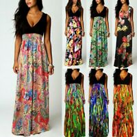UK Womens Maxi Boho Floral Summer Beach Long Dress Evening Cocktail Party Dress