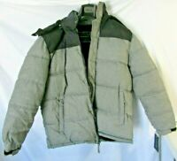 Tommy Hilfiger mens Classic Hooded Puffer Jacket BLACK/GREY LARGE