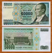 Turkey 50000 Lira L.1970 Pick 204 UNC Uncirculated Banknote Serial L50 1995