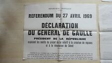 LOT DE 3 AFFICHE POLITIQUE  REFERENDUM 1969 GENERAL DE GAULLE
