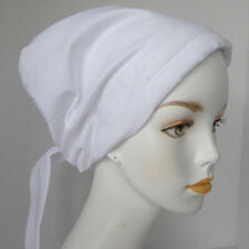 Womans Chemo Scarf Cancer Hat Head Wrap White Padded Elastic Hair Loss Scarf