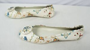 Tory Burch Women's Minnie Floral Travel Ballet Flats BF5 Afternoon Tea US:9