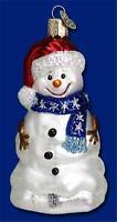 HAPPY SNOWMAN OLD WORLD CHRISTMAS GLASS PATRIOTIC SNOWMAN USA ORNAMENT NWT 24053