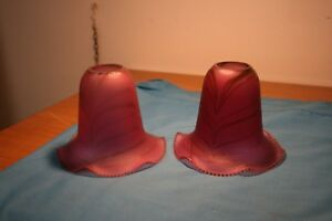 Light Shades. Two Antique Pink & Red Glass Light Shades With Decorative Pattern
