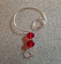 =^..^=  10 RED Chinese Crystal Ornament Hangers Hooks  on Silver