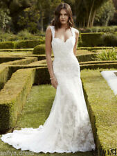 2017 New White/ivory Lace Wedding dress Bridal Gown custom Made 4- 6-8-10-12-14+