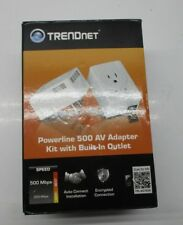 TRENDnet Powerline 500 AV Nano Adapter 2x Power Outlet Pass-Through TPL-407E2K