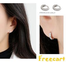 Elegant 925 Sterling Silver CZCubic Huggie Hoop Small Earrings Men Women Gift