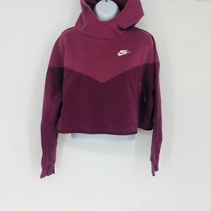 Nike Women's Two Tone Hooded Cropped Sweatshirt Hoodie Burgundy/Wine M/M