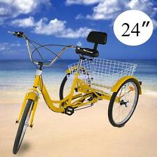 "6-Speed 24"" 3 Wheel Adult Tricycle Trike Cruise Bike Bicycle w/ Basket Yellow"