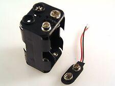 4 x AA (UM-3) Batteria SUPPORTO (quadrato) & PP3 MOLLETTA Rosso / NERO Cablato