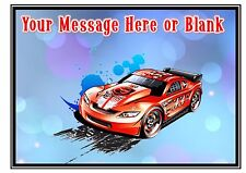 ND1 Hot wheels racing car birthday personalised A4 cake topper icing sheet