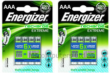 8 x Energizer Accu Recharge Extreme AAA Batteries 800mAh Pre-charged