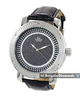 mens diamond silver tone clubbing watch black silver dial leather maxx