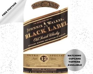 Johnnie Walker Black Label Whisky edible icing cake topper - add message