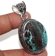 """Turquoise 925 Sterling Silver Plated Vintage Pendant 2.1"""" Gift Jewelry GW"""