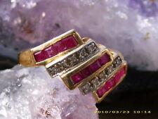 Rubin Diamant 10 K Gelbgold Cluster Ring