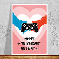 PERSONALISED ANNIVERSARY CARD - Hands - xbox playstation love valentine romantic