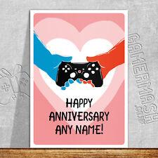 Tarjeta De Aniversario Personalizados-manos-Xbox Playstation Amor San Valentín Romántico