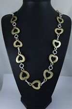 """Antique Brass Heart Charms Silver Loops Link Rustic Quirky Long Necklace 43"""""""