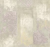 Damask Mud Cloth Stripes Wallpaper Purple Cream Modern Deconstructed Design