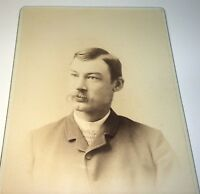 Antique Victorian American Fashion Mustache Gent Madison Wisconsin Cabinet Photo