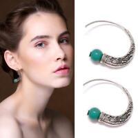 Vintage Boho 925 Silver Turquoise Gemstone Drop Dangle Hooks Earring Women CL