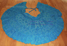 Turquoise Blue Jaipur Wrap Bustle Skirt Gypsy Tribal Fusion Belly Dance ATS FAE