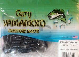"Yamamoto Fishing Baits 4/"" Single Tail Hula Grub S//T Blue Pearl /& Black Flakes"