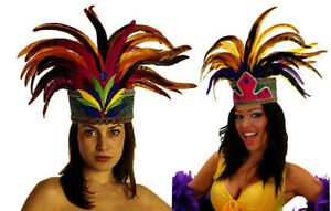 Rio De Janeiro Feather Cabaret Mardi Gras Showgirl Carnival Headdress Fancy Dres