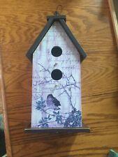 Wood Hanging Bird House 12x6x3 1/2. Lt. Purple detailing. Rear door. New