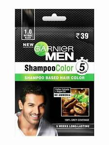 Garnier Men Shampoo Color Shade 1.0 NATURAL BLACK, 20gm (Pack of 4 pieces)