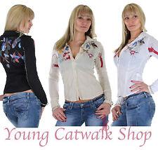 Damen Bluse Hemd Blumen Knitter Stickerei Damenbluse 3 Farben 36 S - 42 XL ★ 15o