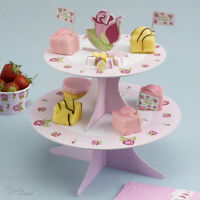 VINTAGE ROSE CAKE STAND -Shabby Chic-Afternoon Tea/Hen Party/Pink-RANGE IN SHOP!
