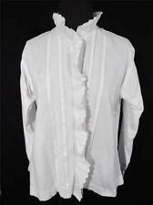 RARO francés antiguo Eduardiano ERA BLANCO monograma MA blusa del algodón