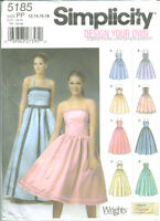 S 5185 sewing pattern Lovely DRESS bodice variations sew Prom Bridal 12,14,16,18