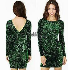 Women's Long Sleeve Sequins Sexy BodyCon Prom Evening Party LEBB