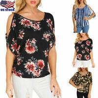 US Women Cold Shoulder Loose Tops Floral Short Sleeve T-Shirt Blouse Plus Size
