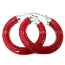 New Arrived Design Unusual Red Coral Circle Dangle Silver Hook Earrings