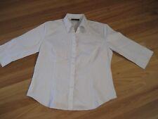 LADIES WHITE CHECK 3/4 SLEEVE BUTTON DOWN POLYCOTTON SHIRT BY KEVAL- SIZE 14