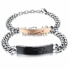 """""""Thank You For Being Beside Me"""" Cross Engraved Couples Stainless Steel Bracelet"""