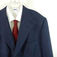 H FREEMAN jacket blazer sport coat houndstooth three button wool blue long 46L