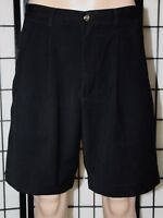 "EDDIE BAUER GOLF Men's Size 35 Black Double Pleated Golf Casual Shorts 8"" Inseam"