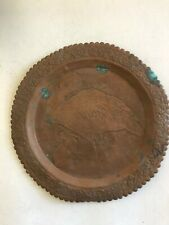 Vintage Copper Hand Etched  Wall Table Tray Charger Pelicans Birds